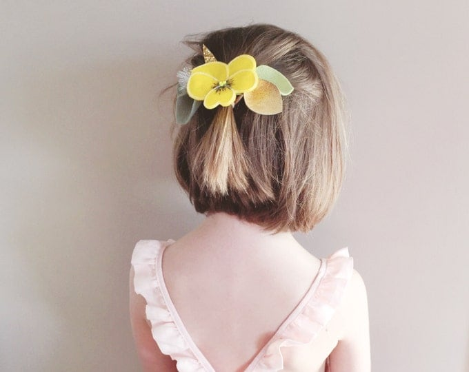 Featured listing image: Easter Headband, Felt Flower Headband, Easter Hair Bow, Children Photo Prop, Yellow Pansy, giddyupandgrow