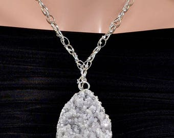 LP 1408 Gray Crystal Stalactite Pendant Sterling Silver And Zircon Chain 00AK Necklace