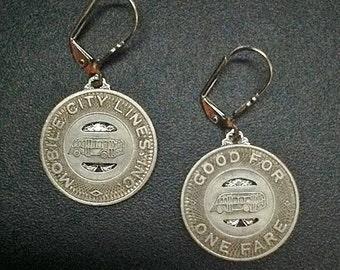 1900s Mobile AL Transit Token Earrings