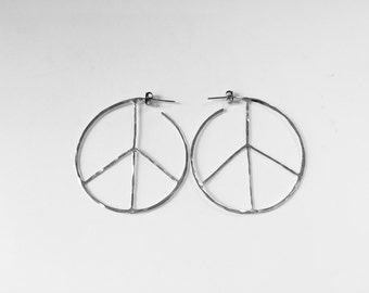 Large Peace Sign Hoop Earrings