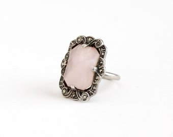 Vintage Art Deco Sterling Silver Rose Quartz Ring - Antique 1920s 1930s Size 5 Light Pink Genuine Gemstone Marcasite Halo Statement Jewelry