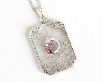 Sale - Antique Art Deco Sterling Silver Daughters of Rebekah Camphor Glass Necklace - Vintage Filigree Enamel Odd Fellows Pendant Jewelry