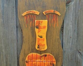 FLAME, Tiki Bar, Wood Sculpture, Tiki Mask, Primitive Wall Hanging, Tiki Man, Rustic Beach House