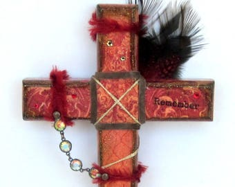 Decoupaged Wood Cross Decorated Wall Cross Mixed Media Crucifix Catholic Christian Art Remembrance Dark Red Easter Gift
