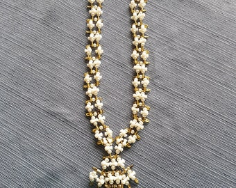 Vintage Safety Pin Necklace from the 70's pearls pins tribeads metal clasp