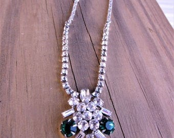 1950s Wedding Necklace Round Brilliant Clear Crisp Stones and 3 large 1kt size Emerald Glass Stones