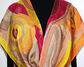 Handpainted Silk Scarf. Copper, Gold, Taupe, Brown Handmade Silk Scarf GOLDEN RIVERS. Size 11x60 in. Silk Scarves Colorado. Hand Dyed Scarf.