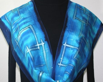 Blue Hand Painted Silk Scarf. Turquoise & Navy Blue Handmade Silk Scarf CRISPY BLUES, in 4 SIZES. Hand Dyed Scarf by Silk Scarves Colorado