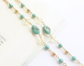 Turquoise Eyeglass Chain Gold Beaded Eyeglass Holder Necklace Aqua and Lemon Crystal, Turquoise Lanyard, Blue Glasses Chain, Gift for Mom