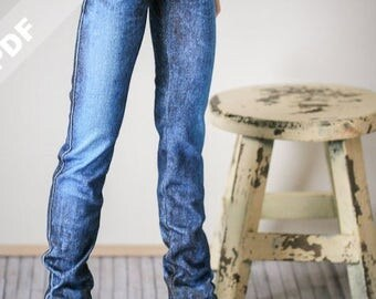 "PDF Pattern: ""Stretch Jeans"" for 1/3 SD BJDs and Sasha Dolls"