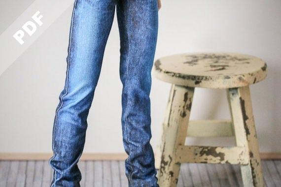 "PDF Pattern: ""Stretch Jeans"" for 1/3 SD BJDs and Sasha Dolls"