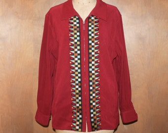 Bob Mackie Embroidered Zipper front Jacket