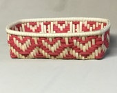 Hand Woven Rectangular Basket, Twill Weave, Hearts, Red