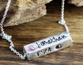 4 Sided Bar Necklace, New Mommy Necklace, Mother's Necklace, Hand Stamped Pewter Necklace, Personalized Family Necklace, Gift for Mom