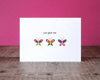 You Give Me Butterflies Card - Valentines Card - Romantic Cute Card - Anniversary Card
