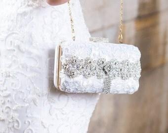 White Bridal Clutch, Crystal Box Clutch, Beaded Evening Bag, Rhinestone Clutch, Holiday Wedding Clutch Bag, Lace Purse, 1920s Bridal Purse