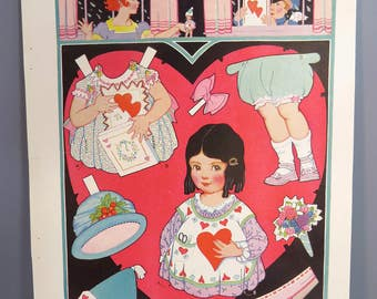 Vintage VALENTINE Walking Paper Doll, Original & UNCUT, Child Room Decor, Paper Doll Ephemera