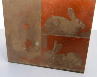 Vintage Bunny Rabbit Printers' Letterpress Block Stamp, Copper & Wood, EASTER, Art Supply