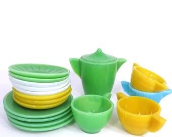 Vintage Akro Agate 18 Piece Child's Toy Dish & Tea Set, Green, White, Blue, Yellow Tea Party