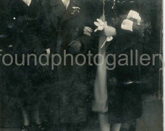 Vintage Photo, Newly Married Couple Leaving Church, Newlyweds, Black & White Photo, Found Photo, Old Photo, Prague Photo, Czech Photo