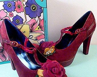 Unique Purple Suede T-Strap Toe Flower Applique POETIC JUSTICE