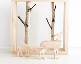 white birch forest wall art with a doe and a fawn - birch branch, wall hanging, framed birch art, nursery decor, kids wall decor