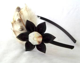 Neutral Colors Feather Fascinator Headband with Black Kanzashi Flower