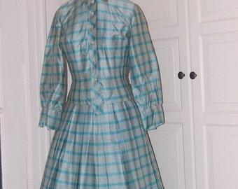 50s Dress, Tea Length, Sky Blue, Polished Cotton, Full Skirt, Rhinestone Buttons, Plaid, Size M