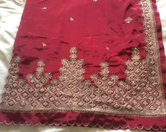 Vintage Shawl/Stole. Regency Style. Blood Red 'Art' Silk, gilt embroidery/beading