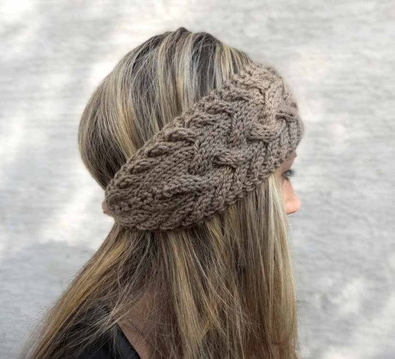 Hand Knit Headband, Winter Headband, Ear Warmer, Button, Cable Knit Headband for Women, Taupe, Brown, Charcoal, Winter Accessories