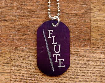 Purple Flute Dog Tag Necklace for Marching Band Geeks and Musicians