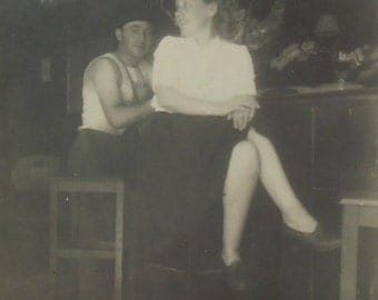 Vintage French Photo - Man & Woman in a Bar