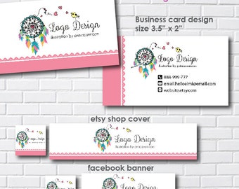1293-4,  dreamcatcher logo, logo and business card set, banner, hand drawn , dreamcatcher feathers illustration photography logo