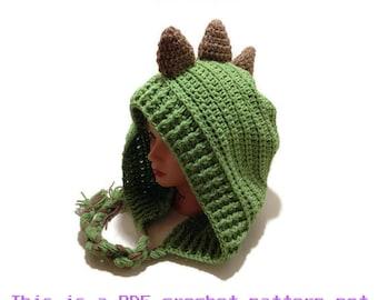 Crochet Dinosaur Pattern, Dinosaur Hood Pattern, Dino Hat Pattern, PDF Crochet Pattern, Spiked Dinosaur Hat Pattern, Hood Pattern,
