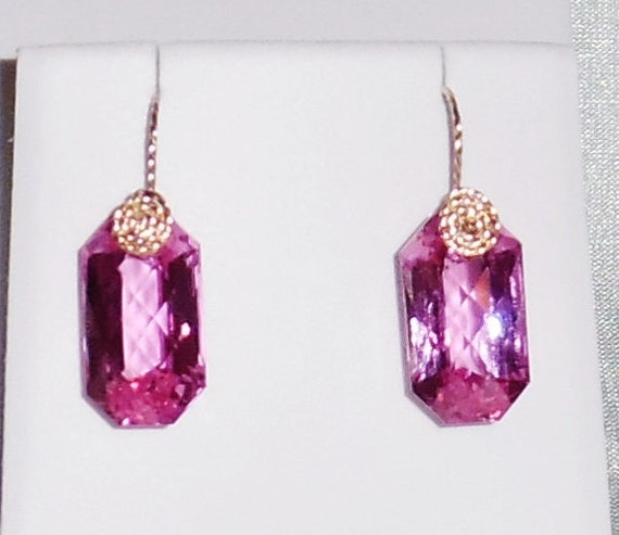 40 cts Natural Fancy cut Pink Topaz gemstones, 14kt yellow gold Pierced Earrings