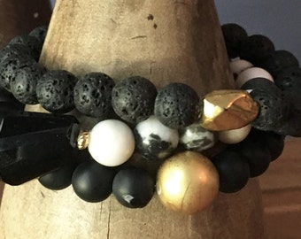 Natural, handmade beaded bracelet set, black onyx, jasper, white