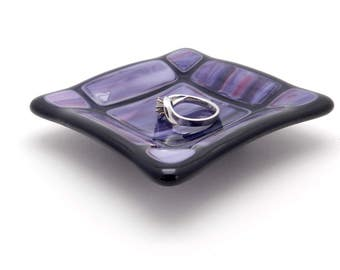 """Ring Dish, Jewelry Dish, Teabag Rest, Teabag Holder, Small Purple and Pink Glass Dish, , 3-1/4"""" Square. Inexpensive Gift Idea.  #16"""