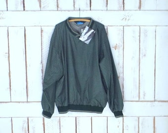 Vintage 90s green checkered plaid sporty wind breaker pullover/nylon wind breaker shirt/active wear/jogging/Tri Mountain/3xlarge
