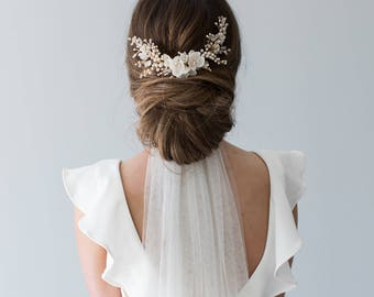 Wedding Headpiece, Bridal Hair Comb, Floral Bridal Headpiece, Beaded Bridal Headpiece, Floral Bridal Comb - HYACINTH