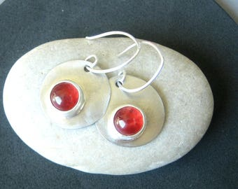 Red Glass & Silver Dangle Earrings - Industrial - Boho - Handcrafted - Organic Shape