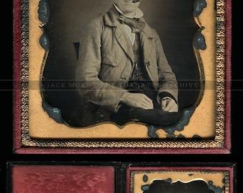 1/6 1850s Dag Cigar Smoking Riverboat Gambler Type  with Visible Puffs of Smoke!
