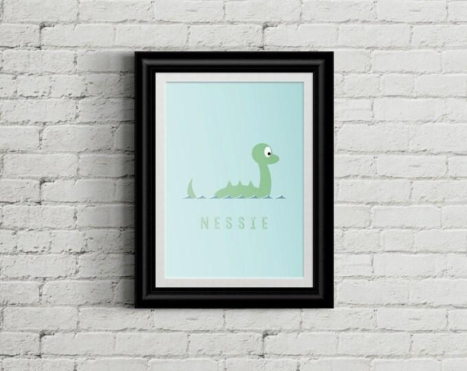 Adorable Nessie Children's Nursery Wall Art Print Decor