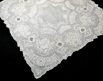 VINTAGE WEDDING HANDKERCHIEF Elaborate Embroidery Drawn Work Covers Entire Linen Field 8 Pomegranate Fertility Medallions 8 Pt. Center Star