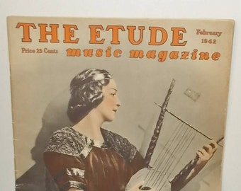 Vintage February 1942 Etude Music Magazine-Sheet Music-Articles-Kerstin Thorborg, Andrew Carnegie, Ethyl Barrymore