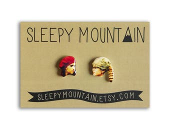 Moonrise Kingdom Earrings - Wes Anderson Sam and Suzy Stud earrings