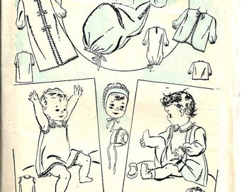1940's Baby Clothes Pattern Advance 3453 Baby Newborn cap, kimino, shoes, slip, nightgown, dress, bib, shirt