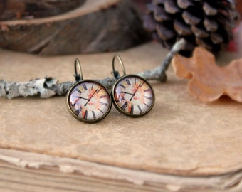 Vintage Clock Earring, Antique Bronze, Glass Cabochon, World Map Earring
