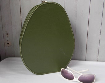 Vintage Round, Egg Shaped Cosmetic Train Case