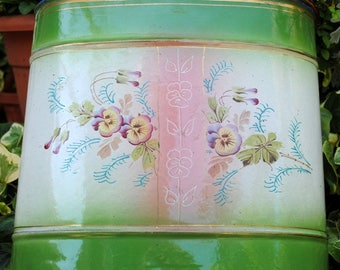 French enameled FOUNTAIN Lavabo PINK & Green shades hand painted PANSIES Antique