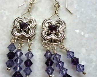 Sterling Chandelier Earrings With Swarovski Purple Velvet and Tanzanite Crystals // Swarovski Crystal Chandelier Earrings // Gift For Her